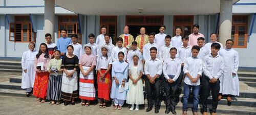 21 young boys and girls received the Sacrament of Confirmation on the Pentecost Sunday 23rd May 2021, administered by Most Rev. Dominic Lumon DD., Archbishop of Imphal at St. Paul Retreat House, Mantripukhri, Imphal ,